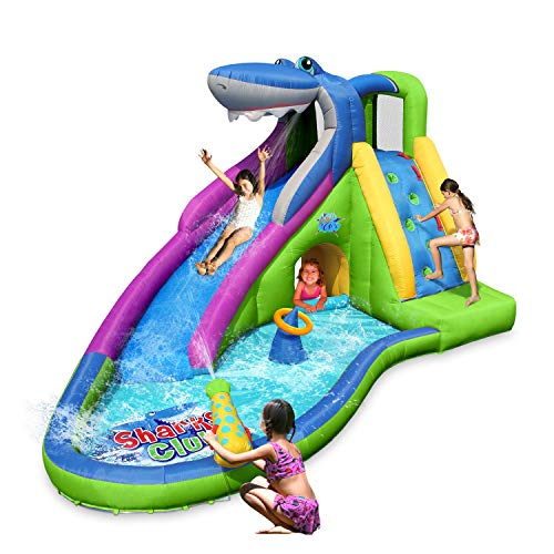 ACTION AIR Inflatable Waterslide, Shark Bounce House with Slide