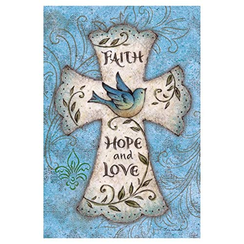 Ethereal Home Faith Hope Love Garden Flag Outdoor Small Yard Lawn Double Sided Design for All Seasons Garden Flags Decoration Patterned for Outside 12.5x18