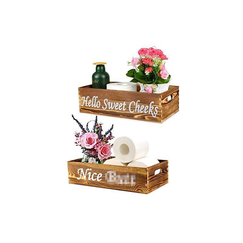 silk flower arrangements 2 pack wooden bathroom decor box toilet paper storage box organizer toilet tank baskets funny wood decorative box rustic home decor hello sweet cheeks box (spray bottle & artificial flower included)