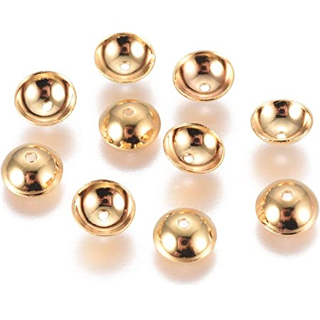 Hole 0.8mm UNICRAFTABLE 20pcs Stainless Steel Bead Caps Apetalous Spacer Beads Golden Bead Cones for DIY Bracelet Jewelry Making 6x2mm
