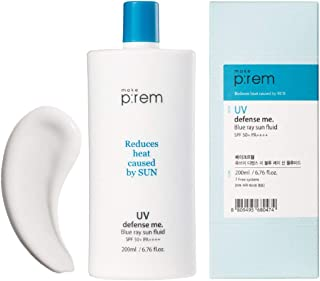 MAKEP:REM UV Defense Me Blue Ray Sun Fluid 6.76 fl.oz (200ml) SPF 50+ PA++++ Sunscreen for Face and Body