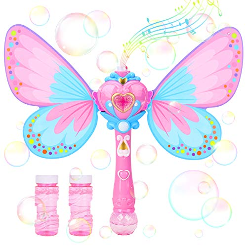 Kimiangel Bubble Machine for Kids, Handheld Bubble Blower Toy with Light and Music for Parties, Weddings, Outdoor and Indoor, 500+ Bubbles Per Minute Bubble Maker with Bubble Solution