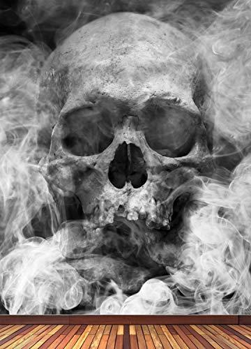 Vlies Tapete XXL Poster Fototapete Totenkopf Schädel Rauch Farbe schwarz weiß, Größe 176 x 220 cm