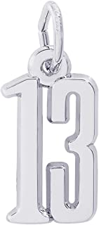 Sterling Silver Number 13 Charm (12.5 x 7.5 mm)