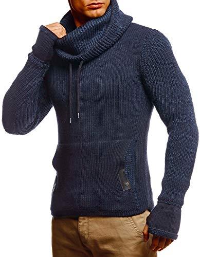 Leif Nelson Herren Pullover Pulli Strickpullover mit Schalkragen Wintepullover Slim Fit Dunkel Blau Large