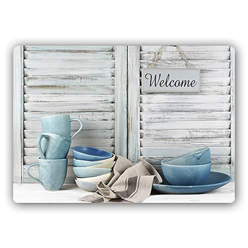 Feeby Bild auf Metall für Küche Poster Wanddeko rustikal Grau 60x40 cm