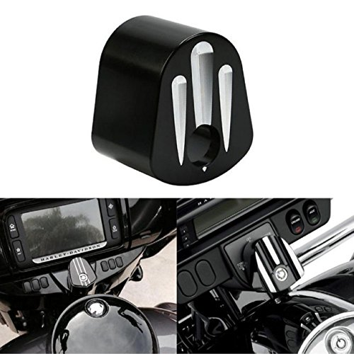 KATUR CNC Ignition Switch Cover Motorcycle CNC Accessory Chrome Edge Cut Deep Cut Billet Aluminum Compatible for Harley Electra Street Glide 2006-2013 (Black)