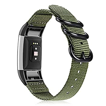 Fintie Band Compatible with Fitbit Charge 2 Soft Woven Nylon Sport Replacement Strap Wrist Bands Compatible with Fitbit Charge 2 HR Smart Fitness Tracker  Olive
