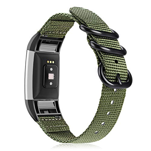 Fintie Band Compatible with Fitbit Charge 2, Soft Woven Nylon Sport Replacement Strap Wrist Bands Compatible with Fitbit Charge 2 HR Smart Fitness Tracker, Olive