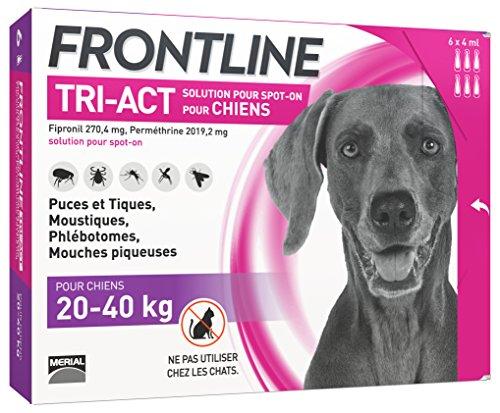 FRONTLINE TRI-ACT Chien - Anti-puces et anti-tiques pour chien - 20-40kg - 6 pipettes