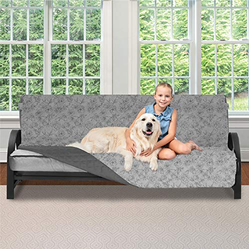 Sofa Shield Original Patent Pending Reversible Futon Protector for Seat Width up to 70 Inch, Furniture Slipcover, 2 Inch Strap, Couch Slip Cover Throw for Pets, Futon, Vintage Floral Lt Gray Charcoal