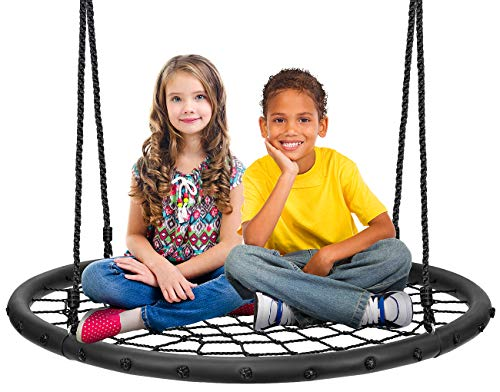 """Sorbus Spinner Swing – Kids Round Web Swing – Great for Tree, Swing Set, Backyard, Playground, Playroom – Accessories Included (40"""" Net Seat)"""