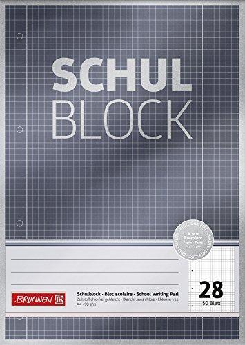 Brunnen 1052628 Schulblock / Notizblock Premium (A4, 50 Blatt, kariert, mit Randlinien, Lineatur 28, gelocht, kopfverleimt, 90 g/m²)