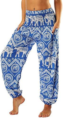 Dfkyts Pantalones hippie de Harem para mujer, hippie, bohemio, yoga, elefante, holgado, bohemio, cintura alta, cintura fruncida, delgada, con bolsillos, pantalones de salón