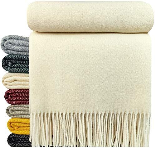 STTS International Kaschmir Decke Wolldecke Wohndecke 100% Merinowolle - Kaschmir - Mix 140 x 200 cm sehr weiches Plaid Kuscheldecke Faro (Cremeweiß/Elfenbein)