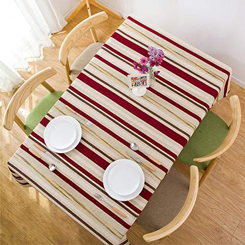 Ai-Home Nappe rectangulaire en coton et lin avec broderie tridimensionnelle rouge et jaune à rayures 90 × 130 cm