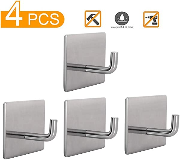 ANDRIMAX Self Adhesive Hooks Towel Hooks 4PCS SUS304 Stainless Steel Wall Hooks For Bathroom Kitchen Office Heavy Duty Waterproof Wall Hooks For Robe Coat Bags