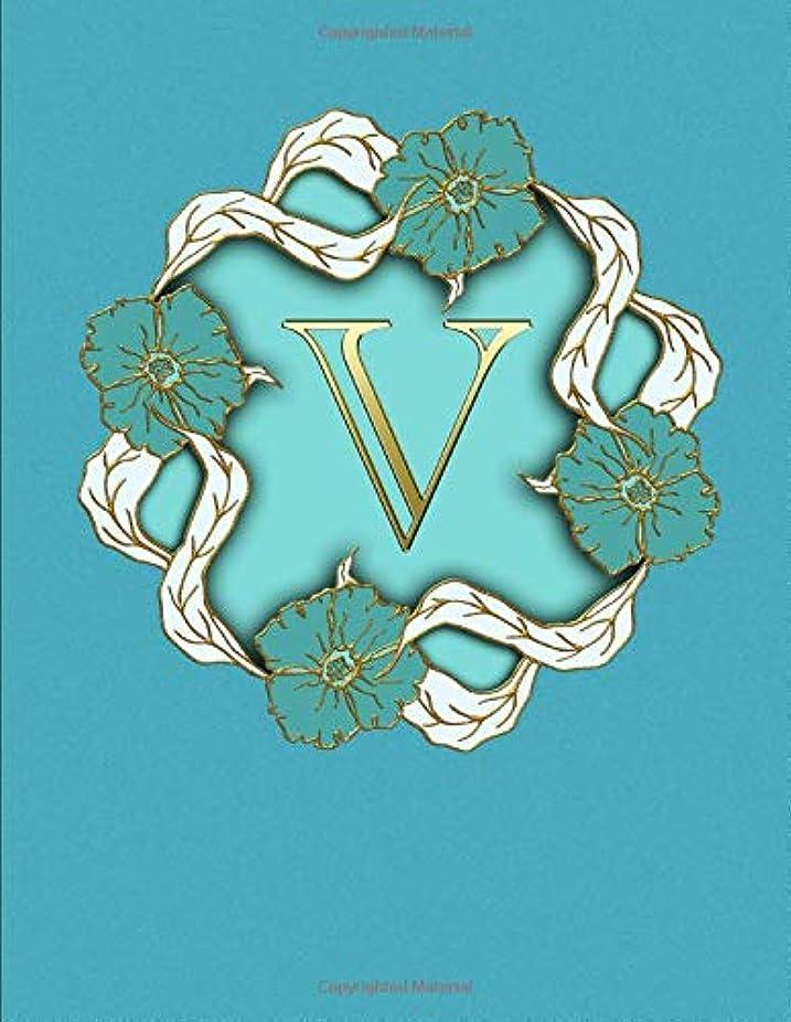 火快適動脈V. Monogram Initial Letter V Cover. Blank Lined College Ruled Notebook Journal Planner Diary.