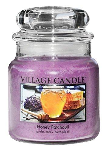 Village Candle Honig und Patchouli Duftkerze im Glas, 454 g, violett, 9.7 x 9.5 cm