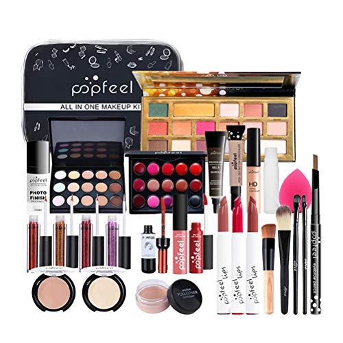 Stecto 27St Multifunktions Luxus Make-up Kit Schmink Geschenkset Make-Up Set Kosmetik Makeup Paletten Schminkkoffer Schminke für Gesicht, Augen und Lippen