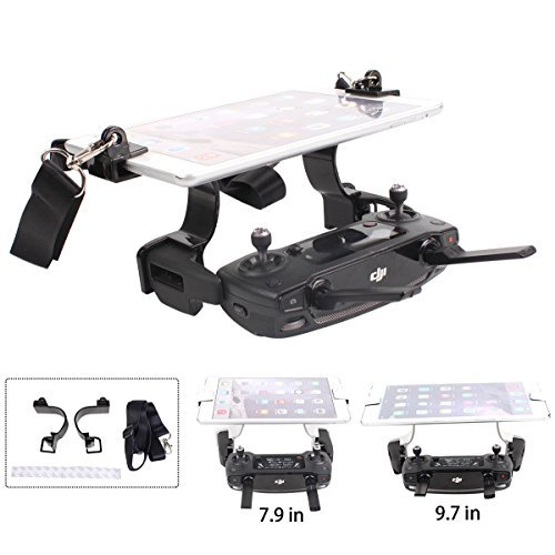 Drone Fans Sunnylife For DJI Mavic Pro Air Spark Tablet Holder Mount, Remote Controller 7.9in 9.7in Support Bracket Clamp, with Dual Rings Won't Block Screen Black