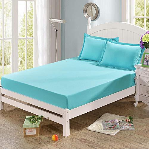 HPPSLT Protector de colchón, algodón, poliéster, Sábana cepillada Color sólido Antideslizante Puro Azul Claro_120 * 200cm