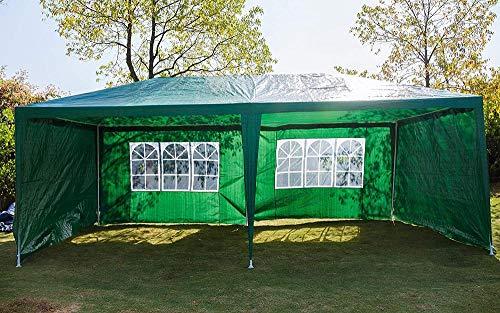 Carpa exterior Impermeables Refugios solares Impermeable Gazebo resistente Fiesta al aire libre Boda Evento Tienda de refugio con 4 paredes laterales extraíbles-3x3m (4 paneles laterales verdes)