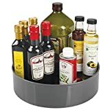 mDesign Lazy Susan Turntable Condiment Holder – Plastic Revolving Condiments and Spice Rack – <span class='highlight'>Kitchen</span> <span class='highlight'>Storage</span> Unit for Cooking Oil, Bottles, Cans and Jars – 29.2 cm Diameter x 8.6 cm – Charcoal Grey