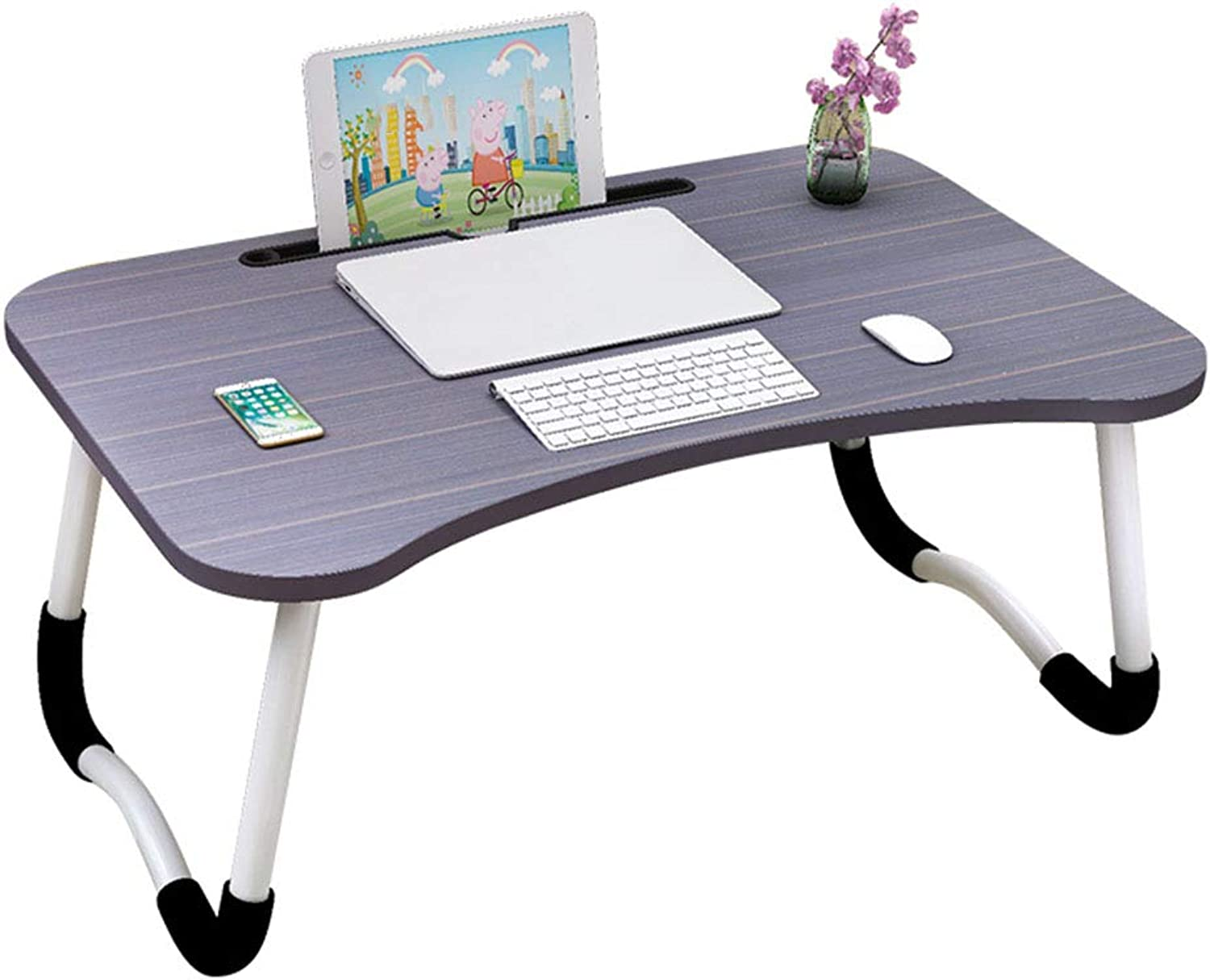 NJLC Folding Table, Simple Folding Desk Computer Desk Bed with Multi-Function Folding Table,B