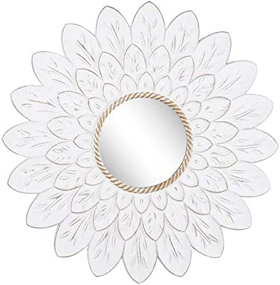 Ganz CB174043 Carved Flower Wall Mirror, 29-inch Height, Wood and Glass