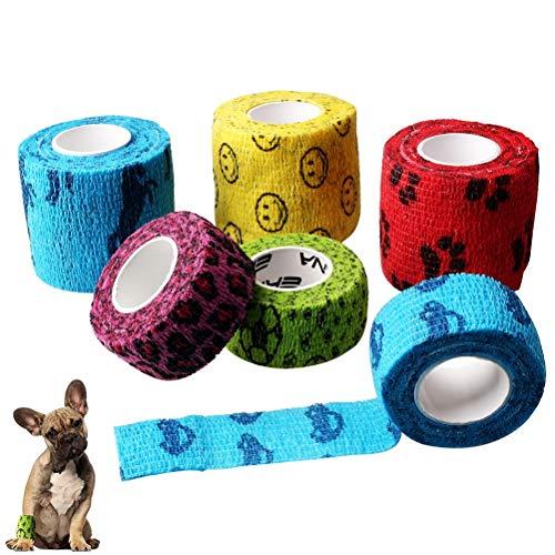 Nuoshen 6 rollos de vendaje para mascotas, autoadhesivo para mascotas, vendaje elástico autoadherente para lesiones de muñeca, esguinces, hinchazón de tobillo, alta elasticidad y transpirable