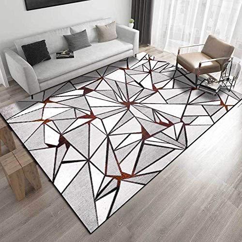 VGFGI Rojo Gris Blanco triángulo geometría Cocina Sala de Estar Dormitorio cabecera impresión 3D Antideslizante Sala de Estar área de decoración Alfombra Felpudo