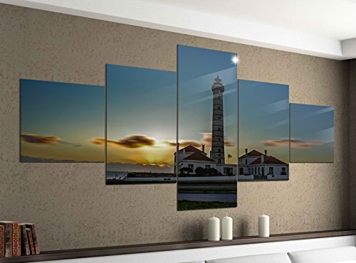 Acrylglasbilder 5 Teilig 200x100cm Leuchtturm Sonnenuntergang Meer Druck Acrylbild Acryl Acrylglas Bilder Bild 14F275, Acrylgröße 11:Gesamtgröße 200cmx100cm