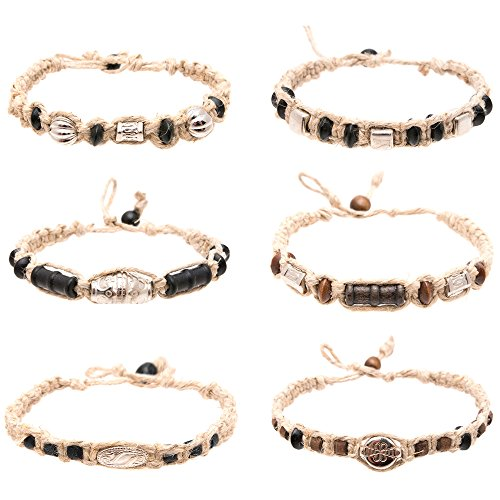 Hemp Anklet Bracelet Set of 6 for Men Women Unisex - Handmade Braided Bracelets Anklets with Silver Tribal Beads - Great Surfer Hawaiian Style Jewelry - Adjustable Perfect for the summer and Beach