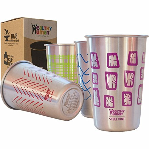 Healthy Human Stainless Steel Cups – Retro Color 16oz (4 Pack) Ideal Beer Pints, Iced Tea Tumblers, Wine & Water Mugs, Camping Cup – Bar Set. – Retro Style