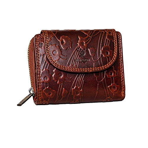 MATADOR Geldbörse für Damen Portemonnaie Echt Leder Geldtasche Vintage Braun Geldbeutel Frauen Blumenmuster RFID Schutz 12 x 10 x 4.5 cm