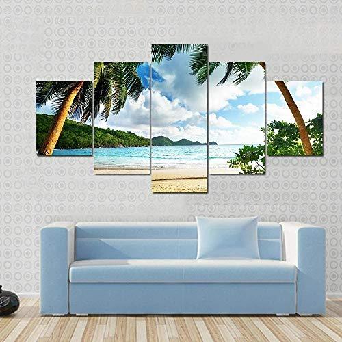 QQQAA Strand der Seychellen und hölzerner Pier Leinwandbilder 200x100cm Vlies Leinwandbild 5 teilig kunstdrucke modern wandbilder XXL Wanddekoration Design wandbild