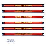 Goplus Barra Magnetica per Attrezzi Rastrelliere da Muro Rosso 46x2,3x1,25 cm (6 x Barra)