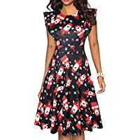 Womens Vintage Ruffle Sleeves Flared Dress with Pockets (Santa Claus)