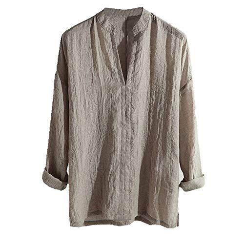 U/A Lässiges Herrenhemd, atmungsaktiv, lange Ärmel, lockere Farbe, V-Ausschnitt, Oberteil, Bluse, lässig, männliches Kleid Gr. XXL, braun