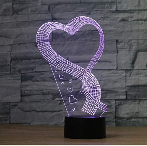 Lámpara de ilusión óptica Romance amor en forma de lámpara de ilusión de bombilla hecha a mano 3D LED Mood Light Valentine