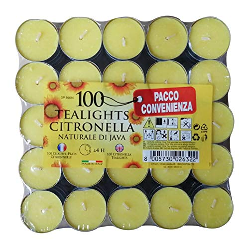 WHITE PEARL Yellow Citronella Tealight Candles - Mosquito Fly Insect Repeller - Wax Real Flame - Summer Candles for Indoor Outdoor (Pack of 100)
