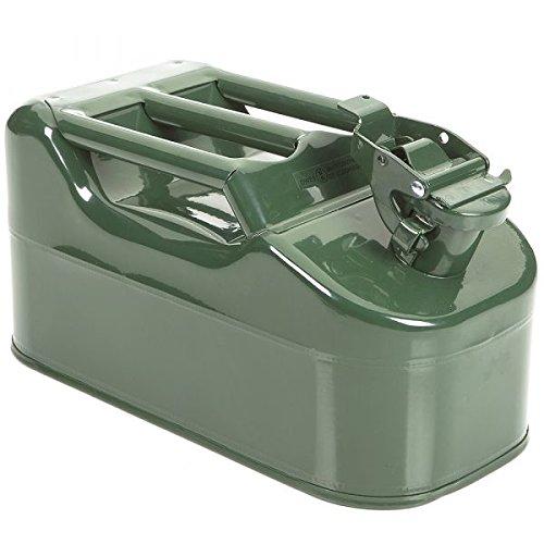 Jerrican 5 litres acier métal vert olive pour hydrocarbures - Pièce neuve