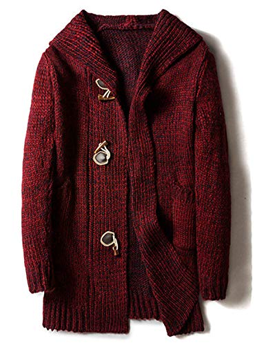 chouyatou Men's Chunky Toggle Button Mid-Length Knitted Cardigan Sweater Attached Hood (Large, Wine Red)