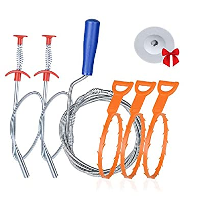 6+1 Drain Clog Remover Tool, Sink Snake Cleaner...
