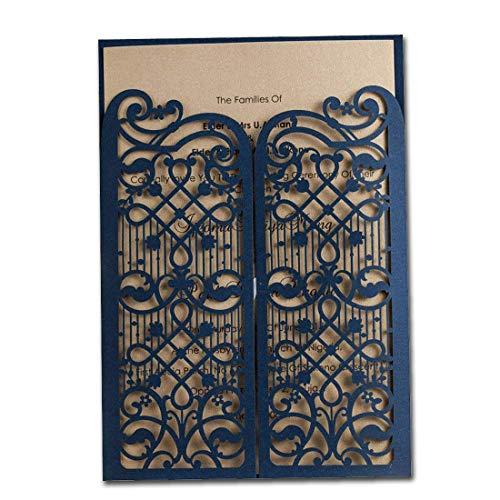 50X WISHMADE uitnodigingskaarten bruiloft met blauw lasergesneden kant design blanco set 50 stuks voor verjaardag afstuderen partij Favors CW5102
