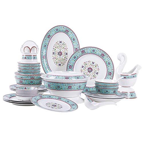ZSM Conjuntos de Cena de cerámica de 48 Piezas, tazón/Plato/Olla de Sopa | Set de vajilla Set de vajilla de Placa de jardín Royal Blue Set-para Regalos Dando Cena de Banquete YMIK