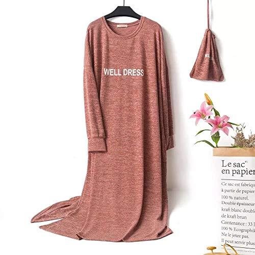 LXDWJ Gran tamaño 10xl Busto 150 cm otoño Invierno Vestido Largo Vestido de Dormir casero camisón camisón Mujer Causal Ropa de Dormir Suelta Damas Vestido (Color : A)