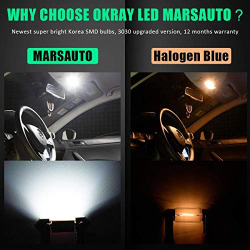 Marsauto 194 LED Light Bulbs, 6000k Super Bright T10 168 2825 5SMD Replacement bulbs for License Plate Lights Lamp, Courtesy Dome Map Door Lights, Pack of 10