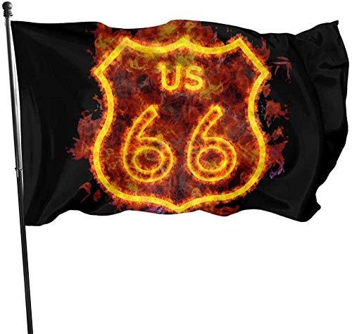 Just Life Bandiera del Giardino Segno Festa all'aperto Banner per Interni Cortile Impermeabile Recinzione Prato Divertimento e romanzo 5 * 3FT, Fiery Route 66 Highway Shield Flag